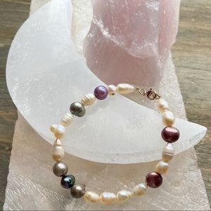 PEARLS ON THE CRESCENT MOON BRACELET